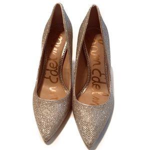 Sam Edelman Hazel LT Gold Mesh Heels Size 6.5M